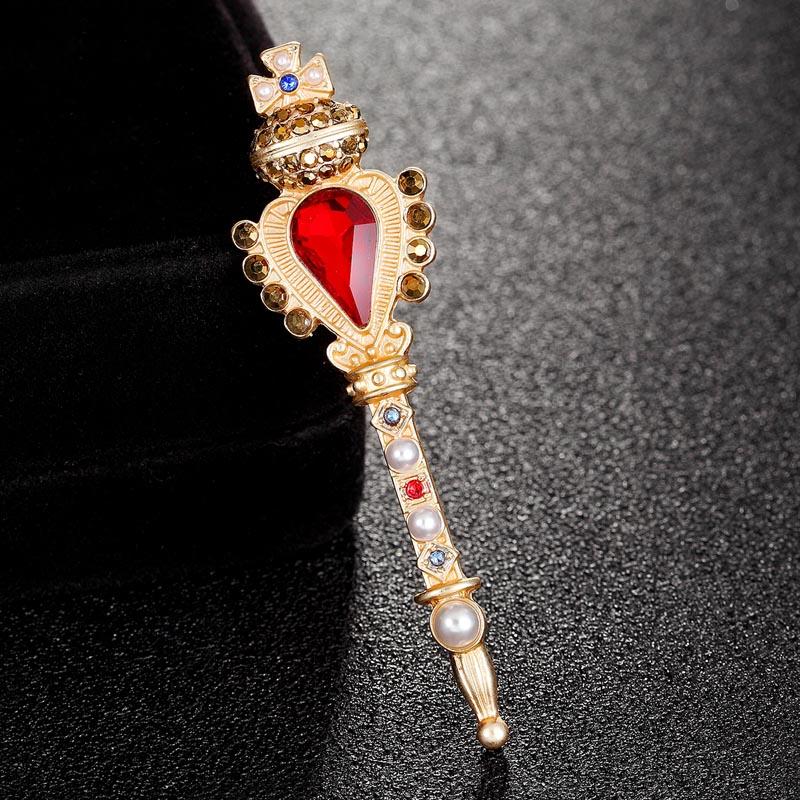 [해외]도니아 보석 크로스 크라운 브로치 밝은 라인 석 가짜 진주 황금 드레스 액세서리 아가씨 브로치 터번 핀 선물/Donia jewelry cross crown Brooch Bright rhinestone faux pearl golden dress Accessorie