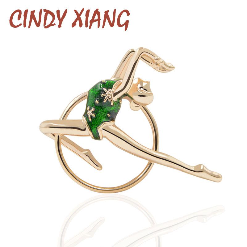 [해외]CINDY XIANG 2 색 이용 가능 여성용 에나멜 체조 소녀 브로치 패션 체육관 브로치 핀 신착 품 소형/CINDY XIANG 2 Colors Available Enamel Gymnastic Girl Brooches for Women Fashion Gym B