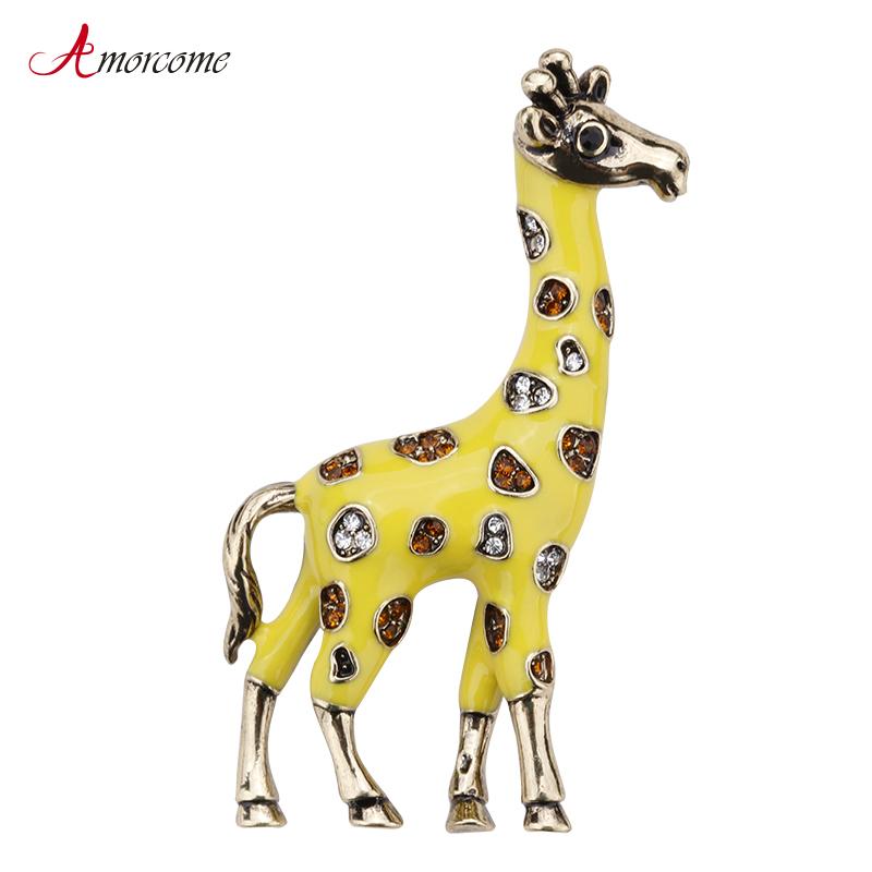 [해외]여성을Amorcome 귀여운 동물 기린 브로치 웨딩 파티 쥬얼리 골드 컬러 금속 크리스탈 옐로우 에나멜 핀 브로치 여성/Amorcome Cute Animal Giraffe Brooches For Women Wedding Party Jewelry Gold Colo