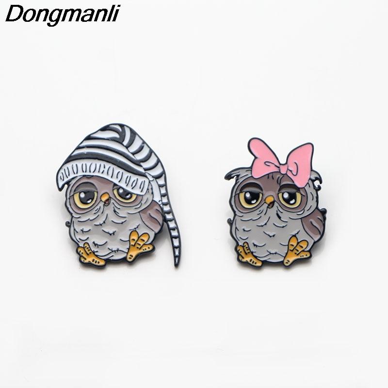 [해외]P2862 Dongmanli 최고의 친구 귀여운 올빼미 커플 액세서리 여성에 대 한 금속에 나 멜 핀 및 브로치 남자 옷 깃 핀 배낭 배지/P2862 Dongmanli Best Friend Cute Owl Couple Accessories Metal Enamel