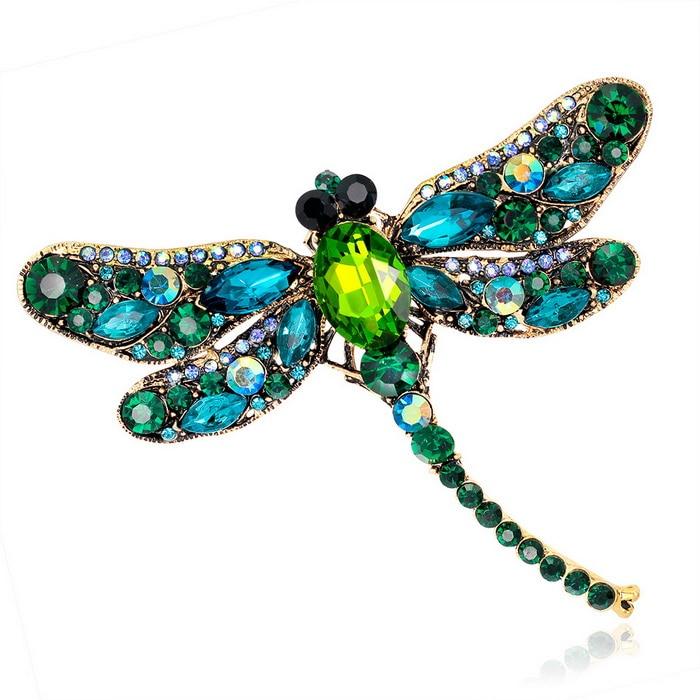 [해외]빈티지 디자인 시니 6 색 크리스탈 라인 석 잠자리 브로치 드레스 스카프 브로치 핀 쥬얼리 액세서리 선물/Vintage Design Shinny 6 Colors Crystal Rhinestone Dragonfly Brooches for Women Dress Sc