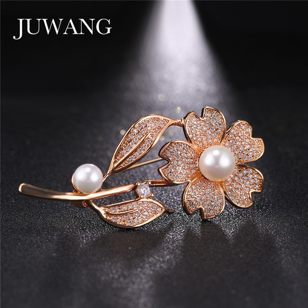 [해외]여성을JUWANG 브랜드 플라워 브로치 CZ 웨딩 신부의 핀 골드 컬러 쥬얼리 선물/JUWANG Brand Flower Brooch for Women CZ Wedding Bridal Pins Gold Color Jewelry Gift Wholesale