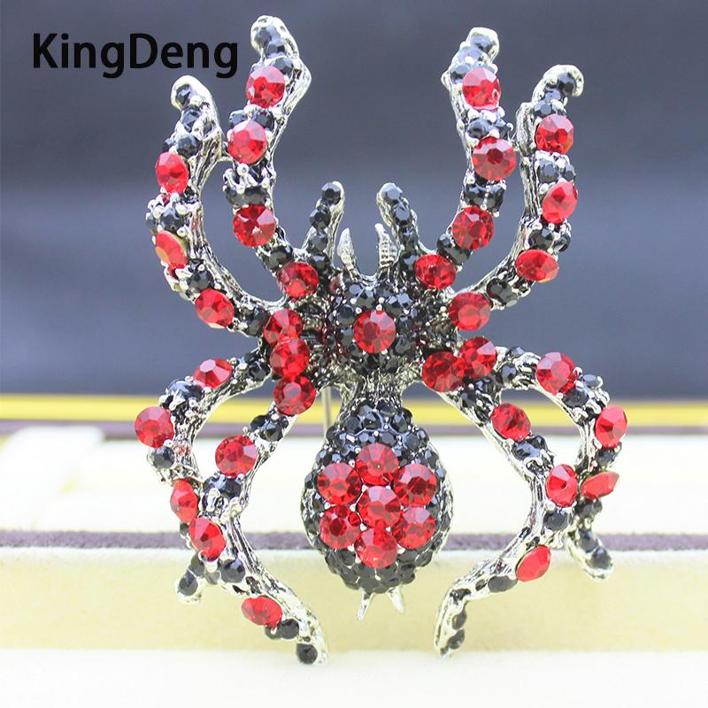 [해외]Spider Insect Big Brooches For Women Large Accessories Metal Rhinestone Enamel Pins Red Enamel Brooch Lapel Pin Men Jewelry/Spider Insect Big Broo