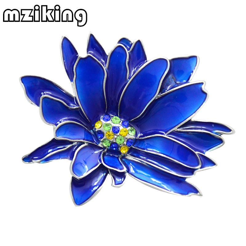[해외]mziking New Blue Flower Brooch for Women Chrysanthemum Brooch Enamel Pin Jewelry Clothes Accessories Brooches For Wedding Brosh/mziking New Blue F