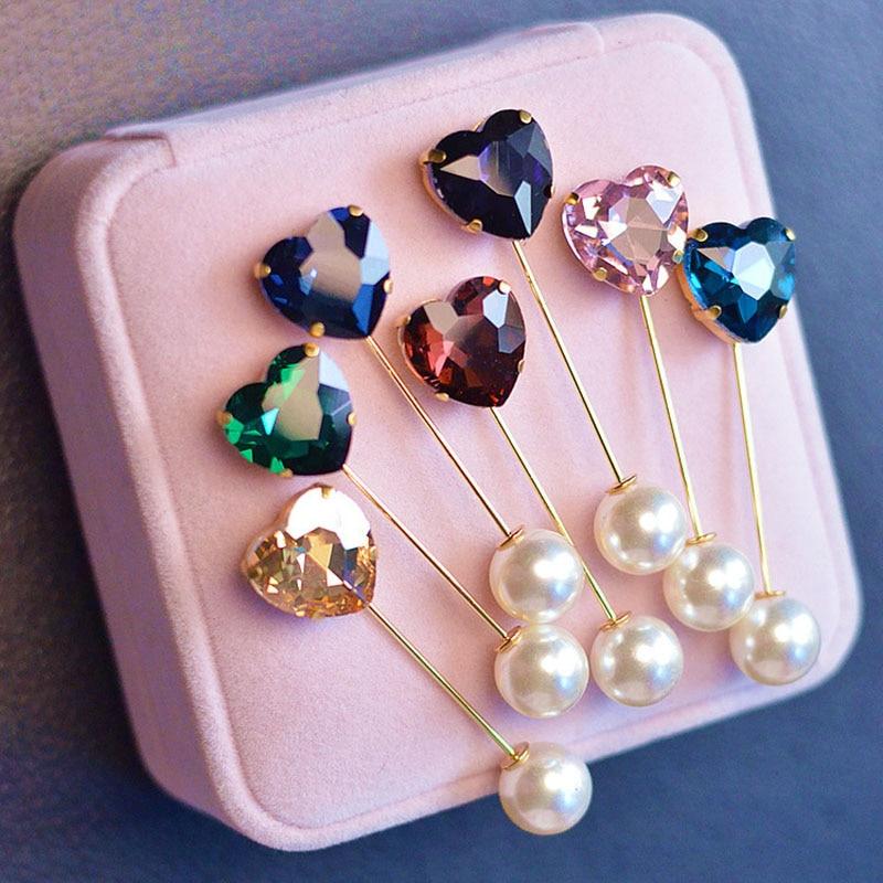[해외]Fashion Colorful Rhinestone Simple Heart Brooch Vintage Brooch Fashion Hijab Pins and Brooches Clothes for Women Gift 2pc BR8247/Fashion Colorful