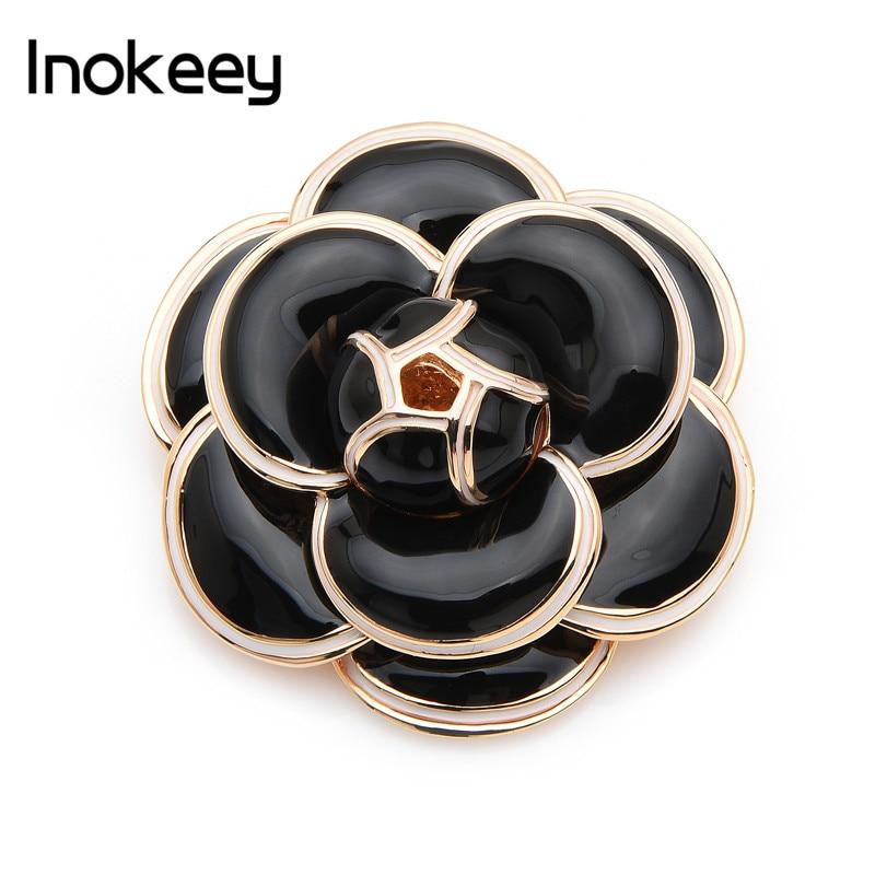 [해외]Inokeey Quality Heavy Enamel Black Camellia Flower Brooch Pins For Women Scarf Buckle Fashion Jewelry Gift/Inokeey Quality Heavy Enamel Black Came