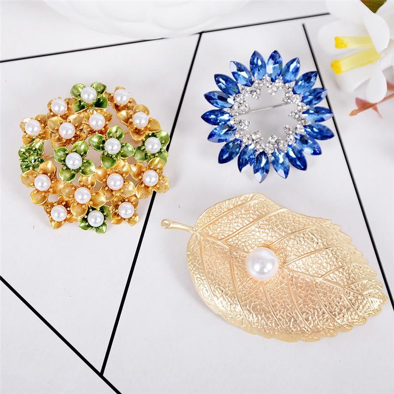 [해외]imixlot Small Simulated Pearl Colorful Crystal Brooch Wholesale Accessories 3 Styles Leaf Rounds Lapel Pins/imixlot Small Simulated Pearl Colorful