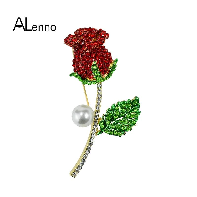 [해외]ALenno 2Color Rhinestone Rose Flower Pearl lilac Brooch For Women`s Men Plant Brooches Pins Wedding Jewelry Spille Broche Gift/ALenno 2Color Rhine