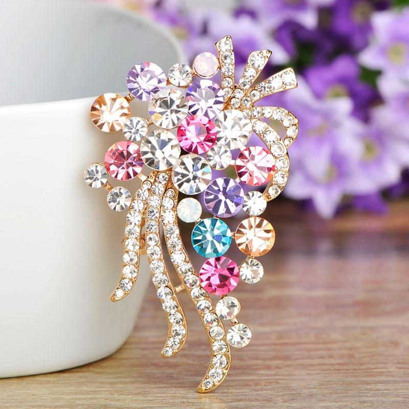 [해외]Blucome Fashion Full Colorful Rhinestone Flower Shape Brooch Gold Color Brooches For Women Dress Hat Scarf Pins Accessories Gift/Blucome Fashion F