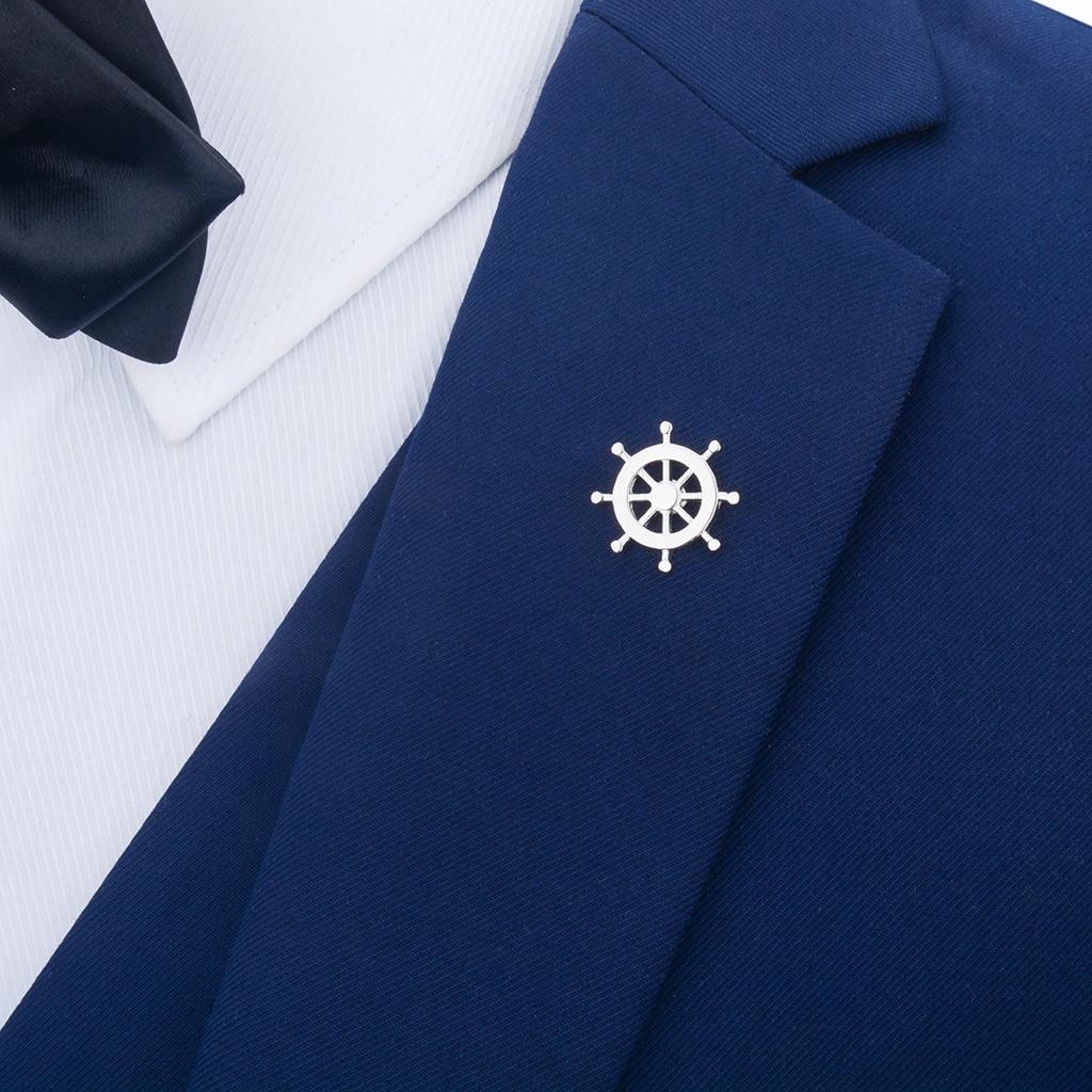 [해외]Silver Brass Nautical Ship Steering Wheel Collar Lapel Badge Marine Charms Fashion Women Mens Shirt Pin/Silver Brass Nautical Ship Steering Wheel