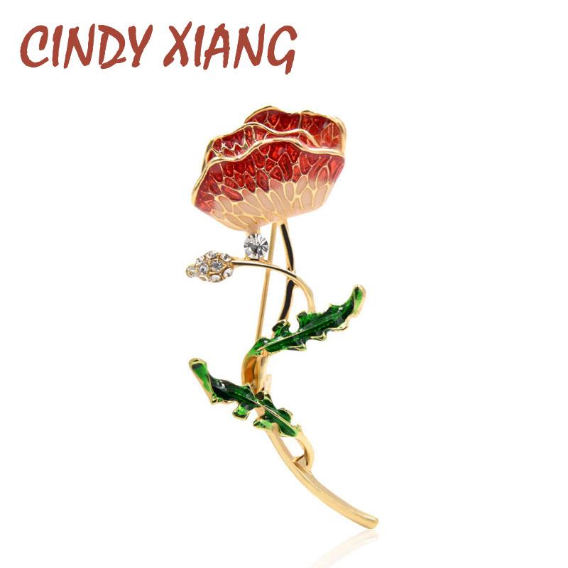 [해외]CINDY XIANG 3 Colors Available Enamel Flower Brooches for Women Simple Design Beautiful Plant Jewelry Suit Wedding Accessories/CINDY XIANG 3 Color