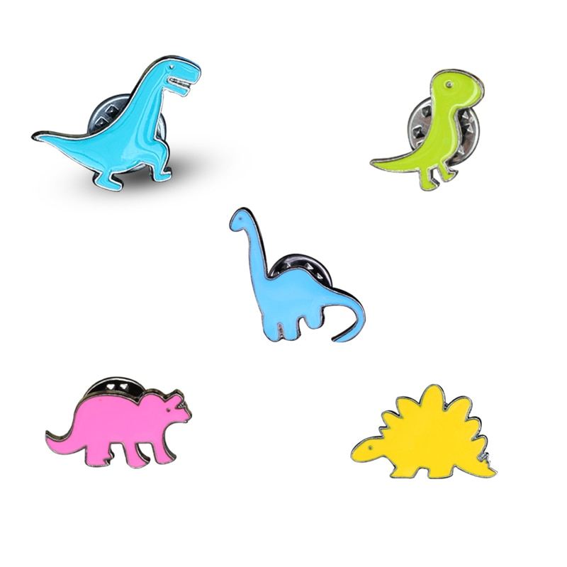 [해외]5Pcs/set Colorful Dinosaur Animal Metal Enamel Brooch Pins DIY Button Pin Denim Jacket Pin Badge Gifts Jewelry Fashion Brooches/5Pcs/set Colorful