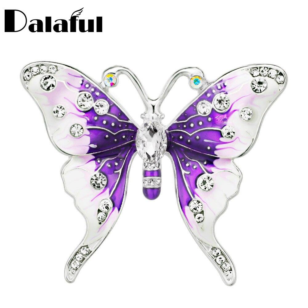 [해외]Dalaful Trendy Butterfly Brooches Beautiful Rhinestone Colorful Enamel Scarf Buckle For Women Party Wedding Brooch Pins Z045/Dalaful Trendy Butter