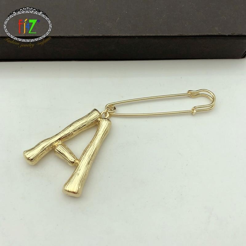 [해외]F.J4Z Original Women Big Alphabet Brooches Gold Color Alloy Bamboo Letters Brooch Pins Female Pins Bambu Iniciales broches Pins/F.J4Z Original Wom