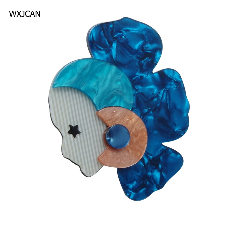 [해외]WXJCAN new large acrylich brooches Ethnic girl side face brooches Wedding party bouquets gifts Size 80mm*65mm/WXJCAN new large acrylich brooches E