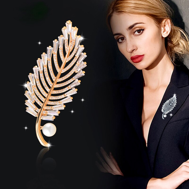 [해외]SINLEERY 2019 New Sparkling CZ Stones Crystal Leaf Brooch Plant Pin For Women Lady Luxury Wedding Jewelry CZ021 SSH/SINLEERY 2019 New Sparkling CZ