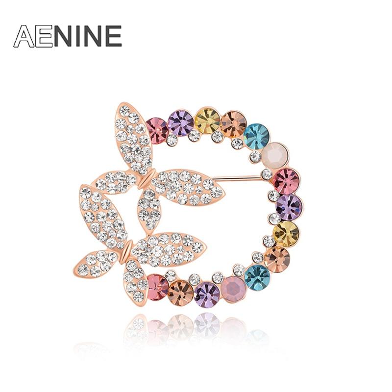 [해외]AENINE  Fashion Dress Flowers Enamel Brooch CZ Crystal Double Butterfly Wedding Bridal Brooch For Women P150080328R/AENINE  Fashion Dress Flowers
