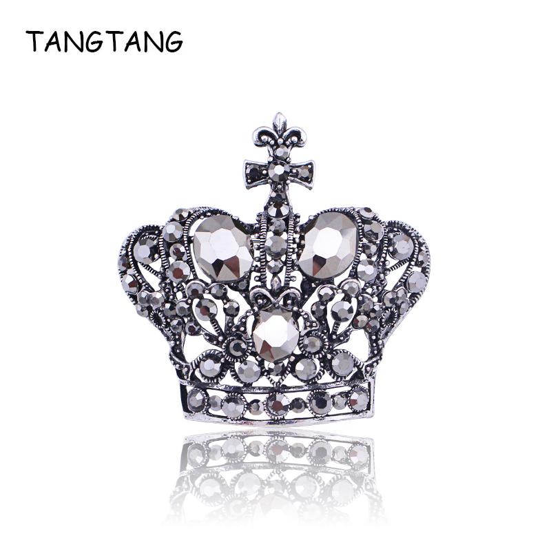 [해외]TANGTANG Crown Brooch Large Black Rhinestone Crystal Brooches For Women Antique Silver Jewelry Pins 55MM Classic Generous Pins/TANGTANG Crown Broo