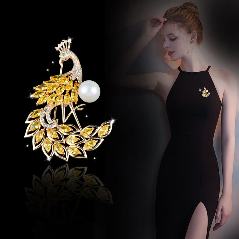 [해외]SINLEERY 2019 New Sparkling CZ Stones Yellow Crystal Peacock Brooch Animal Pin For Women Lady Luxury Wedding Jewelry CZ020 SSH/SINLEERY 2019 New S