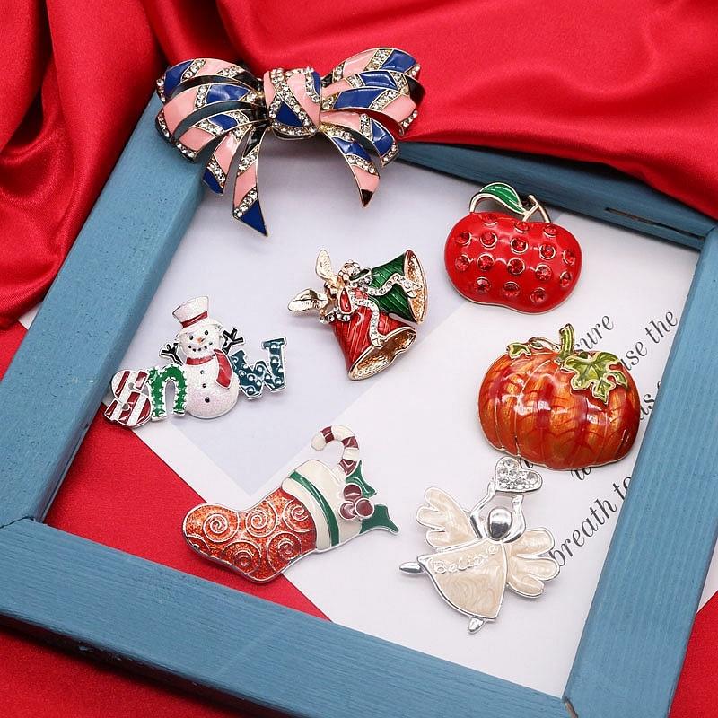 [해외]무료 배송 나비 호박 부츠 브로치 에나멜 크리스마스 선물 크리스탈/무료 배송 나비 호박 부츠 브로치 에나멜 크리스마스 선물 크리스탈