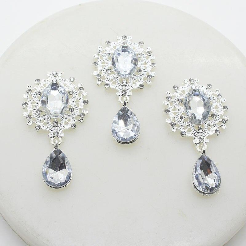 [해외]YWXINXI new fashion alloy silver rhinestone flat back brooch 45*25mm 5 pieces / webbing clothing accessories wedding holiday par/YWXINXI