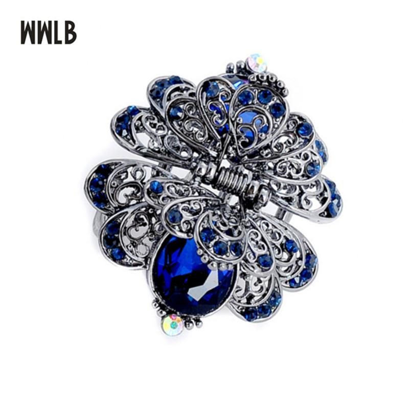 [해외]새로운 금속 꽃 머리 장식 장식품 여자를빅 크리스탈 헤어 클립 크랩 클립 빈티지 신부의 결혼식 액세서리 헤어 쥬얼리/New Metal Flower Hair Claws Ornaments Big Crystal Hair Clip For Women Crab Clip V