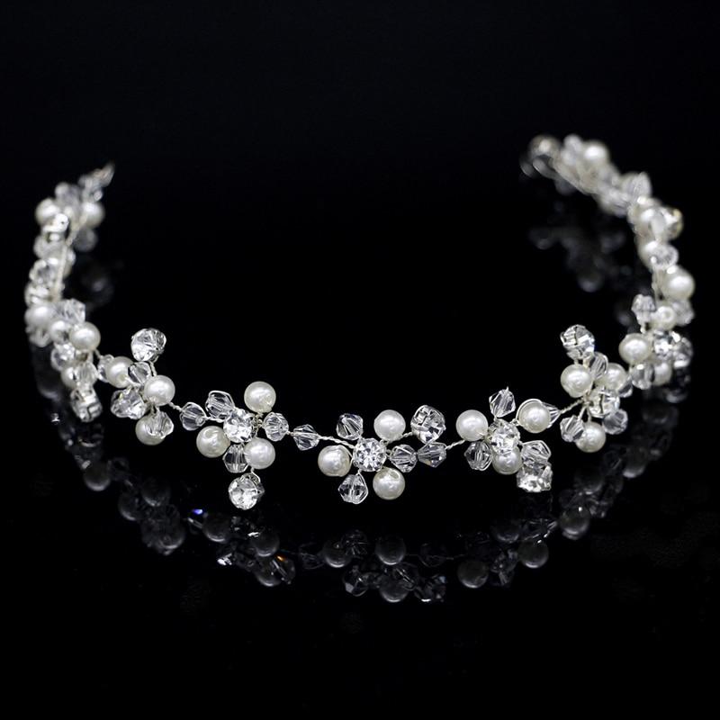 [해외]무도회 간단한 진주 크리스탈 여성 웨딩 헤드 밴드 라인 석 신부 머리 장식 무도회 신부 액세서리 쥬얼리/Handmade Simple Pearl Crystal Women Wedding Headband Rhinestone Bride Headpiece For Prom