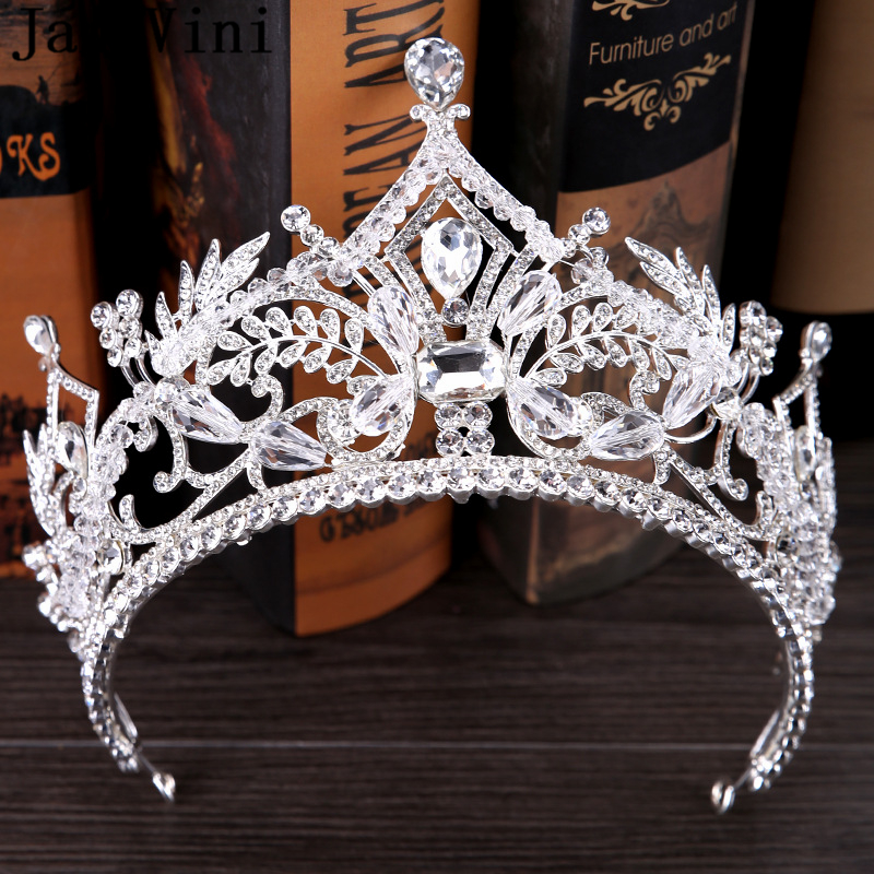 [해외]JaneVini 2018 럭셔리 실버 크라운 라인 석 웨딩 티아라와 크라운 프린세스 미인 대회 헤드 밴드 브라 쥬얼리 헤어 액세서리/JaneVini 2018 Luxury Silver Crown Rhinestone Wedding Tiaras and Crowns P