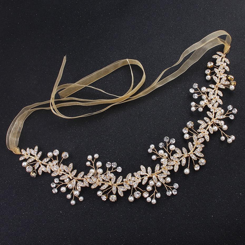 [해외]클래식 골드 컬러 라인 석 크리스탈 헤드 피스 브라 헤어 액세서리 웨딩 헤드 밴드 공주 Tiaras과 크라운/Classic Gold Color Leaf Rhinestone Crystal Headpieces Bridal Hair Accessories Wedding