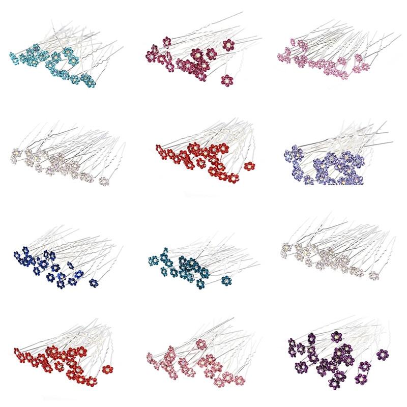 [해외]40pcs Elegant Bridal Wedding Crystal Flower Hair Pins Charm Handmade Bridesmaid Bridal Veil Jewelry Hair Pins Accessories/40pcs Elegant Bridal Wed