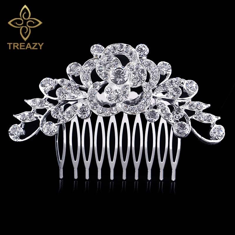 [해외]TREAZY Leaf Flower Wedding Tiara Diamante Silver Plated Crystal Hair Combs Hairpins Bridal Hair Jewelry Women Hair Accessories/TREAZY Leaf Flower