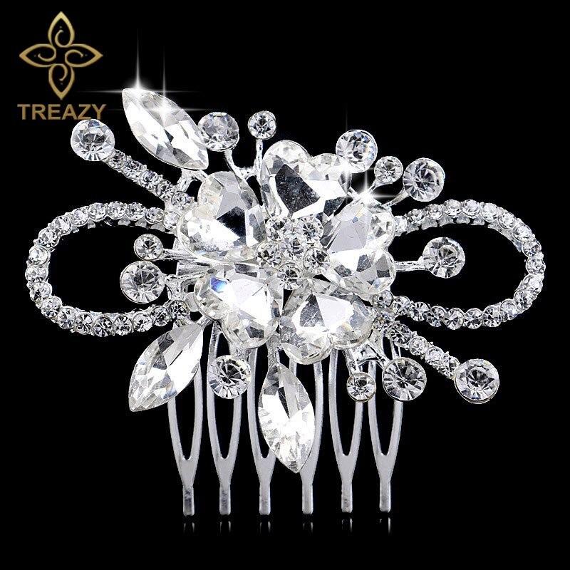 [해외]TREAZY Silver Plated Sparkling Bridal Hair Combs Crystal Heart Flower Hair Comb Bridal Hair Jewelry Wedding Hair Accessories/TREAZY Silver Plated