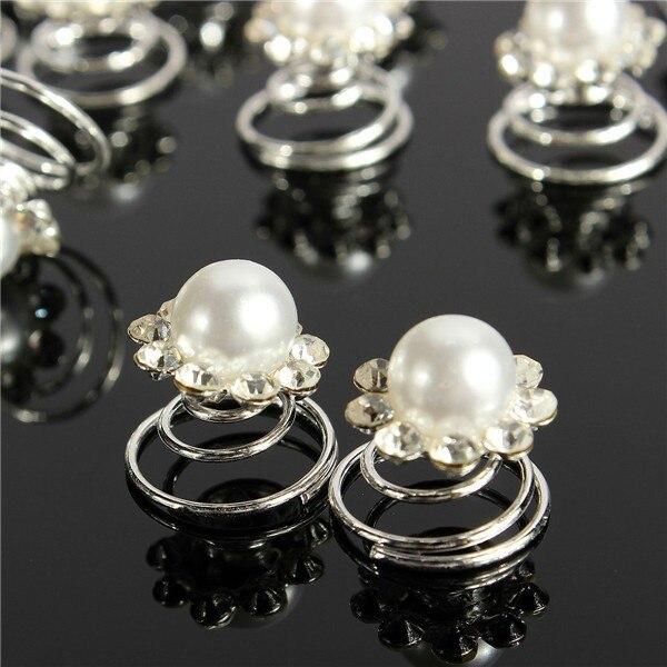 [해외]12Pcs Pearls Crystal Wedding Bridal Hair Pins Twists Coils Flower Swirl Spiral Hairpins Fashion Jewelry Accessories J10286/12Pcs Pearls Crystal We