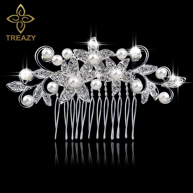 [해외]TREAZY Sparkly Simulated Pearl Crystal Bridal Hair Combs Hairpins Siver Color Women Floral Wedding Hair Jewelry Accessories/TREAZY Sparkly Simulat