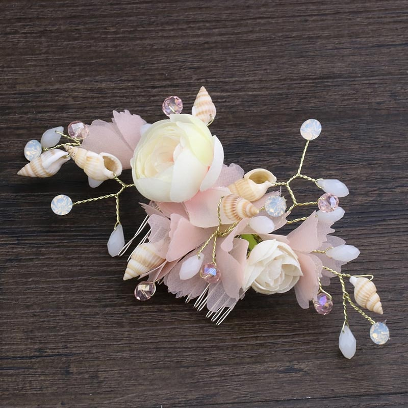 [해외]Romantic Rose Floral Hair Accessories For Women Bride Noiva Haircomb bud Flower Hair Clip Weedding Hair Jewelry Hair Combs/Romantic Rose Floral Ha