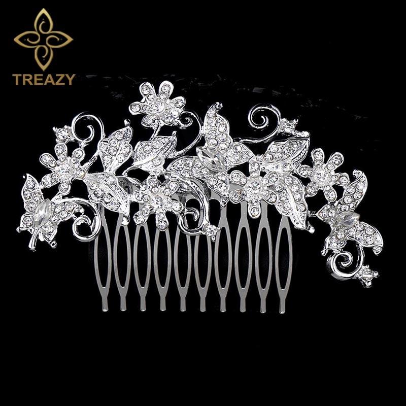 [해외]TREAZY Fashion 2019 New Butterfly Flower Wedding Hair Combs For Women Crystal Bridal Hair Accessories Party Headpiece Jewelry/TREAZY Fashion 2019