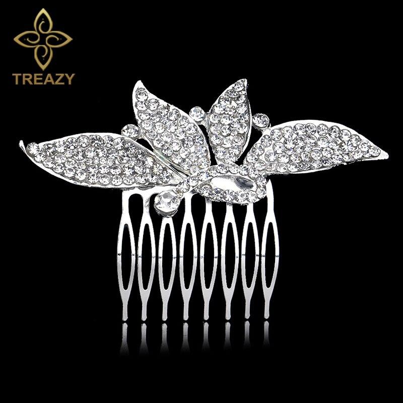 [해외]TREAZY Silver Plated Crystal Butterfly Wedding Hair Combs Shiny Rhinestone Hairpins Bridal Hair Jewelry Women Hair Accessories/TREAZY Silver Plate