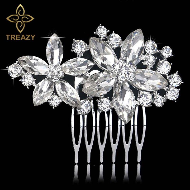 [해외]TREAZY Pretty Flower Wedding Hair Accessories Sparkling Silver Color Crystal Bridal Hair Combs Women Birthday Party Hair Jewelry/TREAZY Pretty Flo