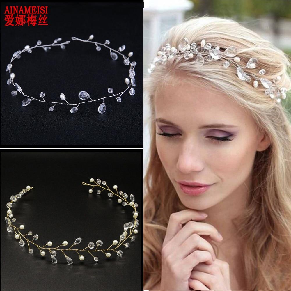 [해외]AINAMEISI Fashion Handmade Bridal Headbands White Pearl Crystal Wedding Hair Accessories Tiara Ornaments Hair Jewelry/AINAMEISI Fashion Handmade B