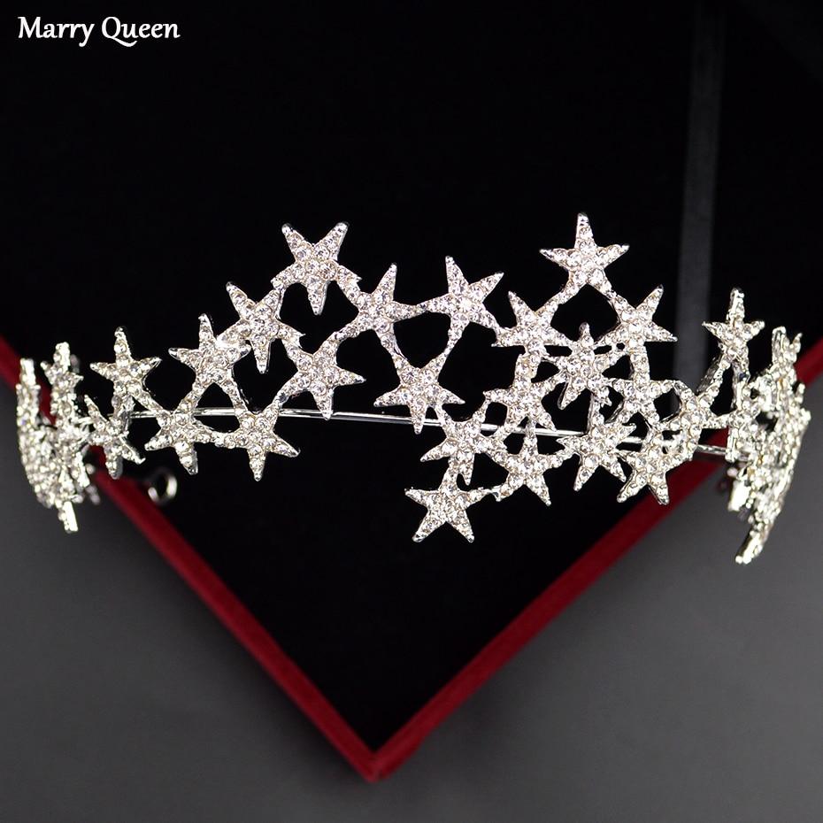 [해외]New Star Shape Design Style Fashion Rose Gold Crown Beautiful Gold And Silver Color Bride Wedding Rhinestone Hair Accessories/New Star S