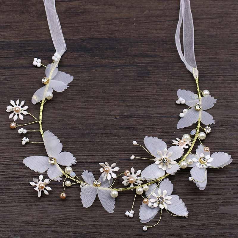 [해외]Pearl Butterfly Ribbon Headband Hairband Women Hair Jewelry Bride Tiaras and Crowns Headpiece Bridal Wedding Accessories SL/Pearl Butter