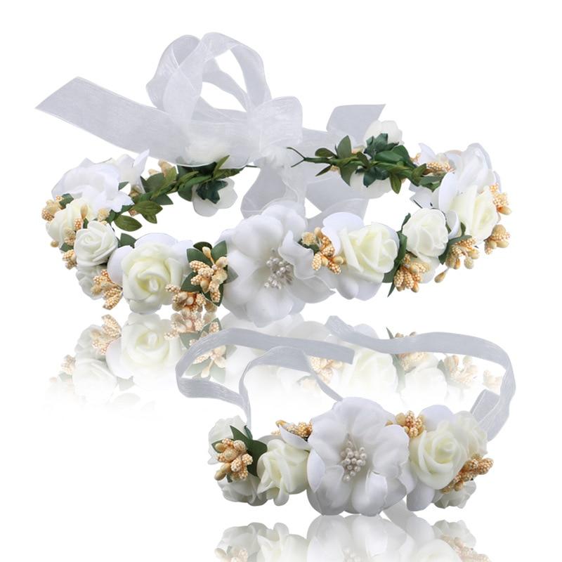 [해외]Party Floral Garlands Bride Headdress Flower Hair Band Beach Photography Jewelry Wreaths Flower For Women Headband Wristband Set/Party F