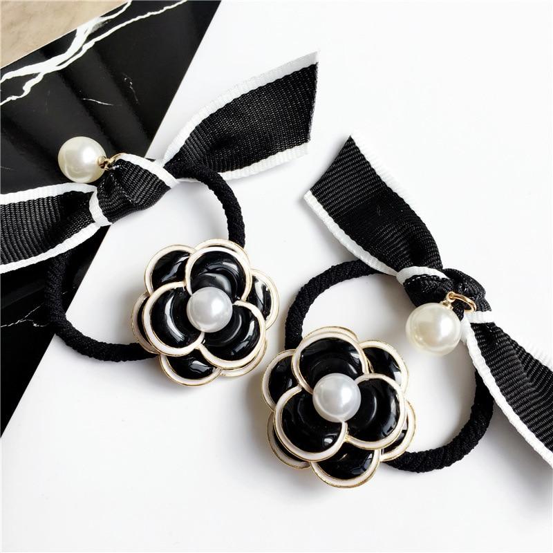 [해외]Fashion White Black Camellia striped Bow Knot Hair Line Korean Hair Accessories Hairband Jewelry/Fashion White Black Camellia striped Bo