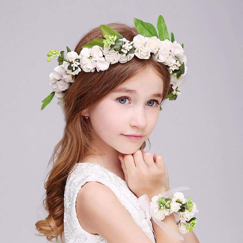 [해외]2 Pcs Fashion White Pink Wreath Garland Artificial Foam Flower Headbands Bracelet Girl Women Hair Decoration Wedding Accessories/2 Pcs F