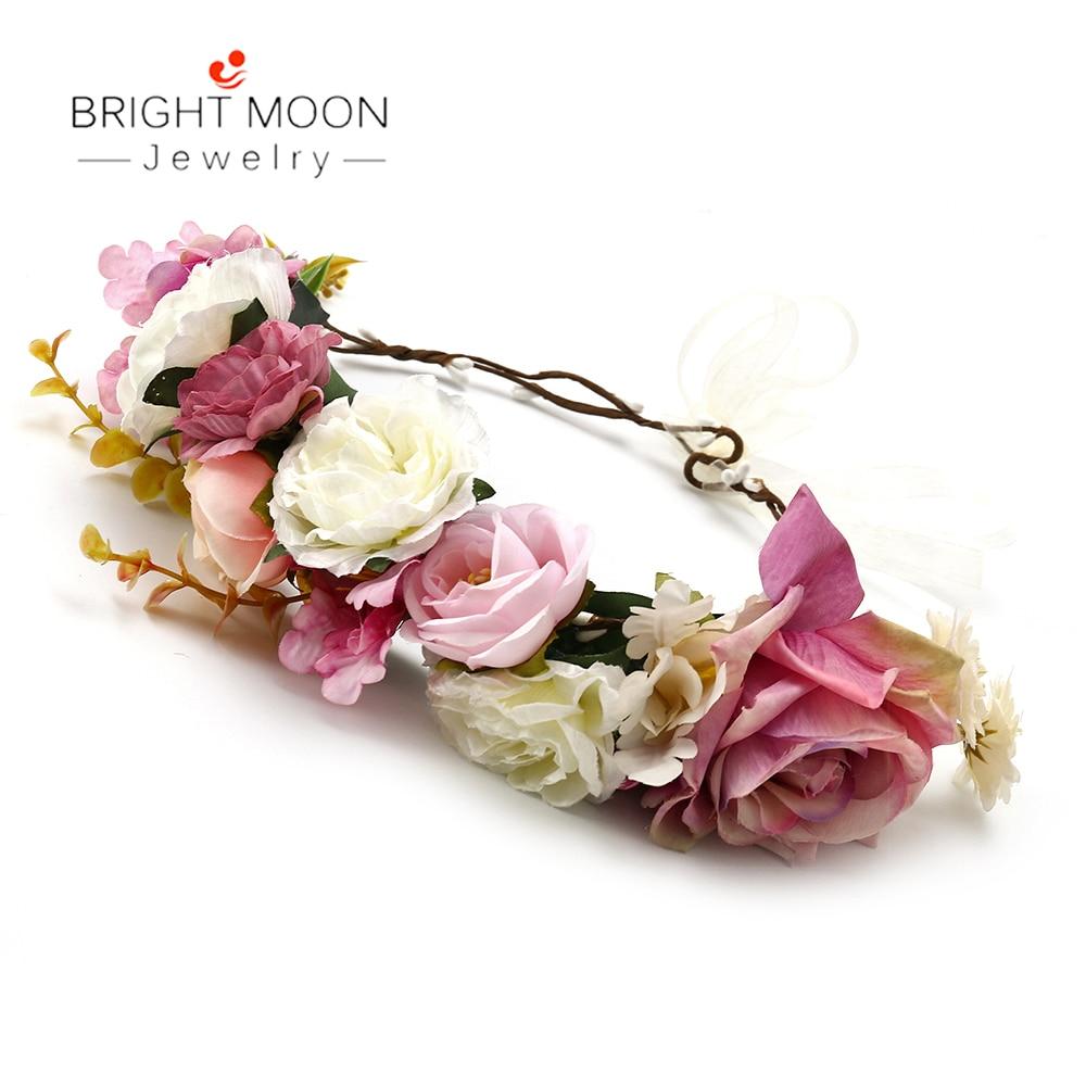 [해외]Bright Moon Vintage Jewelry Boho White Roses Wicker Rattan Flower Crown Headband For Girls Women Gift wedding hair accessories/Bright Mo