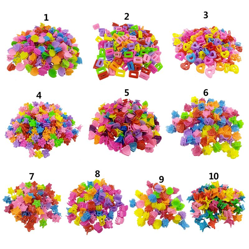 [해외]100 Pcs/pack Mini Multicolor Hair Clip Children Little Girls Bow Love Cartoon Small Claw Clip Baby Kids Children Hairpin/100 Pcs/pack Mi