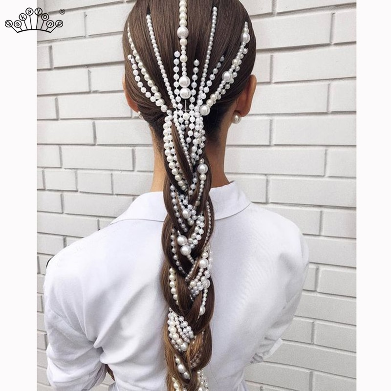 [해외]Simulated Pearl Long Tassel/Chain Bridal Wedding Hair Accessories Hair Clip Women Party Wedding Accessories Hair Jewelry/Simulated Pearl