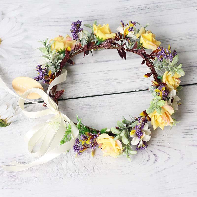 [해외]Bright moonFashion Photography Colour Flower Crown Wedding Flower Crown Women Elastic Headband Flower Boho Bride Crown/Bright moonFashio