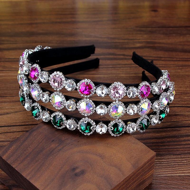 [해외]Charming Elegant Green And Pink Round Crystal Luxury Hairbands Diamante Headband For Girls Women Party Trendy Hair Accessories/Charming