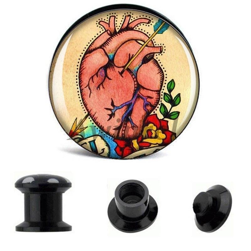 [해외]\tWholesale Ear Gauge Plugs Tattoo Heart Arrow Acrylic Screw Fit Flesh Tunnel Plug Eyelet Body Piercing Jewelry 6mm-25mm AW40202/\tWholesale Ear Gau